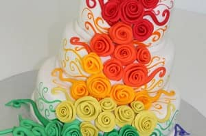 Colorful Roses Wedding Cakes